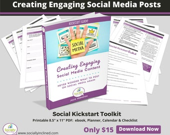 Creating Engaging Social Media Content Toolkit - Social Media Marketing Planner, Ebook, Checklist and Calendar