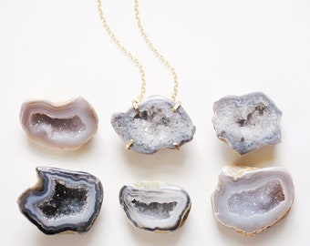 Grey Black Geode Necklace | Druzy Necklace | Agate Necklace | Stone Necklace | Gold Druzy | Silver Druzy | Gray Agate