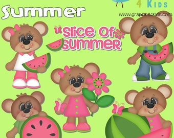 Slice of summer Digital Clipart - Clip art for scrapbooking, party invitations - Instant Download Clipart Commercial Use