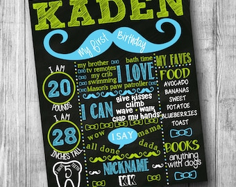 Mustache First Birthday Chalkboard Poster Mustache Chalkboard Birthday Sign Little Mister Birthday Sign Little Man 1st Birthday Chalkboard