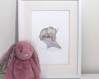 Safari Nursery Art, Baby Elephant print, Nursery Decor, Traditional Toy, Spinning Top, Cute Nursery art