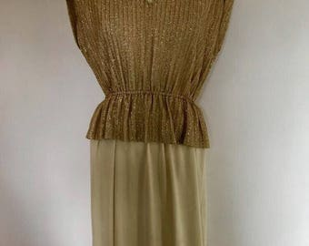 Gold sparle goddess dress with cream bottom sz large vintage 70s