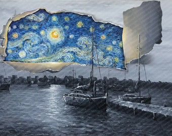 Black and White Ships with Colored Blue Starry Nights - Altered Thrift - Print Poster Canvas - Van Gogh Pop Culture Impressionist Painting