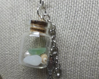 Sea Glass Vial with Fish and Seahorse charms