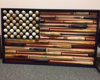 USA Flag - American Flag - Baseball Bat & Baseball American Flag