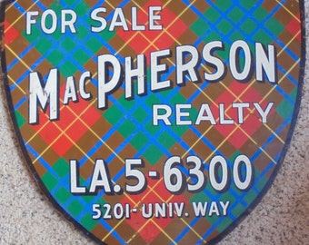 Now 20% off  VINTAGE ADVERTISING SIGN, Realty Business, tartan plaid, shield, painted wood, mid century