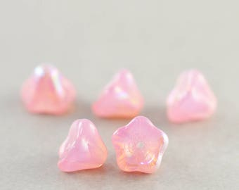 Pink Flower Glass Beads, Pearlized Pink Glass 6mm Beads, Flower Beads, Five
