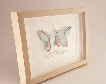 Origami Butterfly - Faux Taxidermy Butterfly in a range of colours, framed and personalised