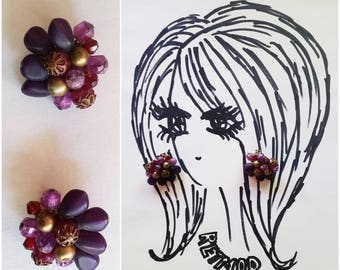 Cute Vintage 50s 60s Purple Beaded and Gold Cluster Clip On Earrings Made in West Germany