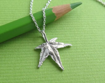 Japanese Maple Leaf Jewelry - Pure Silver Real Leaf Pendant, Botanical Jewelry