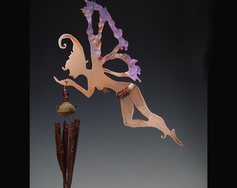 Wind Chime - Copper Manifestation Fairy with Obsidian Chimes - Hanging Mobile