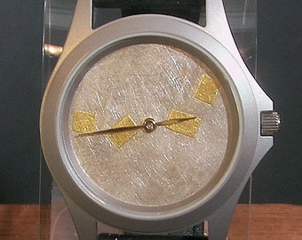 Gold and Silver Argentium Textured Watch
