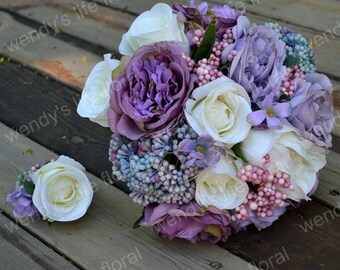 Wedding Bouquet Artificial Bouquet Wedding Flowers Real purple rose, hydrangea