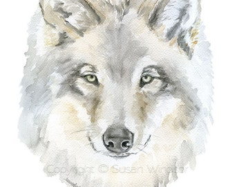 Grey Wolf Watercolor Painting 5x7 Giclee Print Reproduction - Woodland Animal Wildlife Art