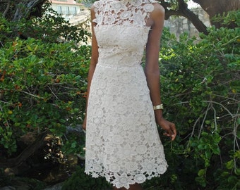Vintage 1950s Style Ivory White Sheer Wedding Tea-Length DRESS rehearsal dinner bridesmaids. Simple Lace Short Wedding Dress