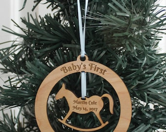 Personalized Ornament - Baby's First Christmas (Rocking Horse)