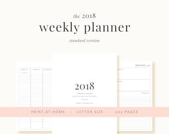 2018 Weekly Planner Printable | Weekly Agenda, Monthly Calendar, Printable Planner, Annual Planner, Weekly Planner Insert