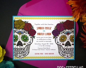 ELLA y ELLA / Sugar Skull Gay Lesbian Wedding / Anniversary / Save The Date / Engagement / Party Invitations / Announcements