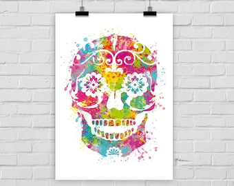 fine-art print poster Dia de los muertos sugar skull watercolor