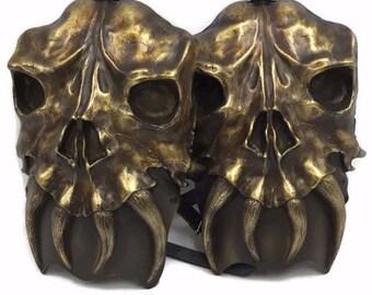 Larp Armor Osseus skull shoulders, pauldrons, spalders, spaulders, SCA, LRP, Theatrical, Cosplay