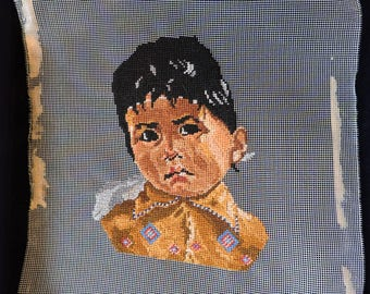 Native American Boy Child Petit Point Needlepoint Craft Completed