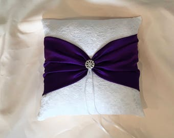 ivory or white lace with dark purple color satin ring bearer pillow