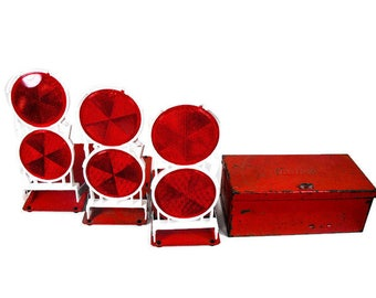 Vintage Roadside Reflectors - Safety Reflector Lights, Red Anthes Auto Safety Lights, Emergency Roadside Lights