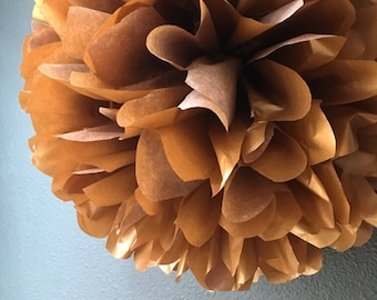 METALLIC COPPER tissue paper pom pom / vintage romantic wedding decorations / golden anniversary / New Years eve / nye party
