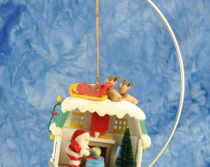 Vintage Keepsake Ornament, Up On the Roof, Santa's Best Christmas Collectible Ornament, 1990's, Santa Claus, Present, Sleigh, Reindeer