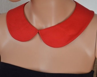 Red Peter Pan Collar, Red Detachable Collar with , Cotton Collar, Necklace, Detachable Collar Necklace,gift for her.