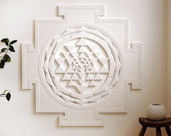 Sri Yantra - Spiritual Wall Art for meditation (3x3ft) (Shri Yantra, Shree Yantra)