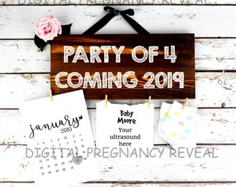 Digital Party of 4 Wood Sign Pregnancy Reveal / Social Media baby Announcement