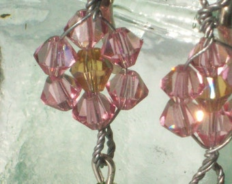 Earrings Flower Pink Yellow Crystals Pierced French Clip Gift for Her