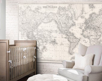 Nursery world map etsy world map print nursery world map print art poster 1852 gumiabroncs Image collections