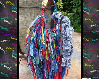 Big Fringe Purse,Custom Fringe Bag,Handmade Purse,Funky Tote Bag,Rag Bag