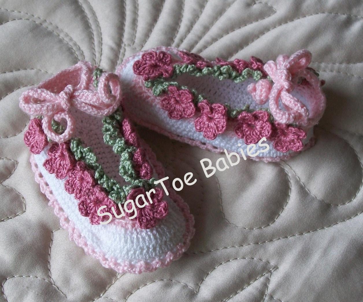 Newborn Baby Booties Pattern Thread Crochet Posies worked in