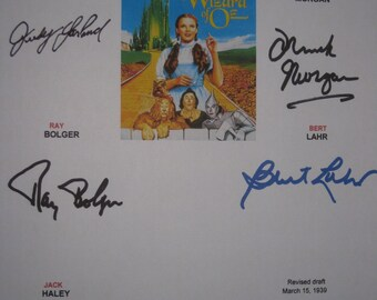 The Wizard of Oz Signed Film Movie Script Screenplay Autographs Ray Bolger Bert Lahr Judy Garland Frank Morgan Jack Haley Signatures Classic