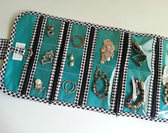 Extra Large Travel Jewelry Organizer Roll Quilted in Black and White Houndstooth print with Teal lining
