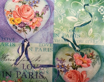 Paper hearts - green and purple towel