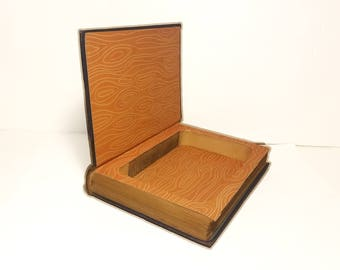 Hollow Book Safe Against The Grain Cloth Bound vintage Secret Compartment Keepsake Box Hidden Security Box