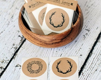 Kraft Stickers/Seals - Set of 10, vintage stickers, antlers, wreath, vintage, round sticker, kraft sticker, paper goods