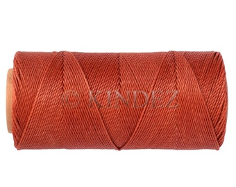 Waxed Polyester Cord  - 15 meters/16 yards Macrame Cord -  Linhasita 234 Waxed Thread - Knotting Cord - 15 Meters /16 yards - TerraCotta