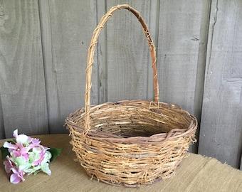 Twig grapevine basket/large twig basket/wedding basket/ wedding favor basket/rustic basket/woodland basket/ rustic wedding/ woodland wedding