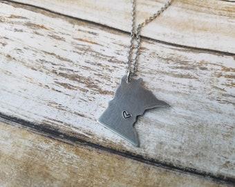Minnesota Necklace, Minnesota Shape Jewelry, MN Gift for Her, MN Love, Minnesota Gifts, Hand Cut Minnesota, Metal MN Jewelry, Birthday Gift