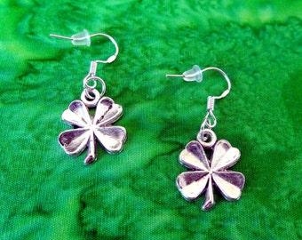 50% SALE Shamrock Earrings..Silver Shamrock Charm Earrings..Shamrock Dangle Earrings..Shamrock Jewelry..St Patricks Day Gift..Gifts Under 5