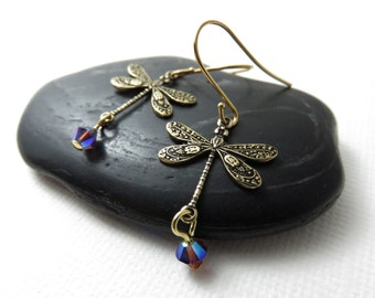 Small Gold Dragonfly Earrings with Swarovski® Crystals in Amethyst AB2X, Gold Dragonfly Jewelry, 14K Gold Earrings, Bohemian Jewelry, Twee
