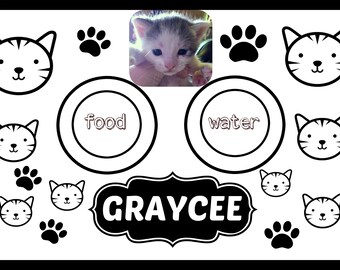 Cat or Dog Photo Custom Personalized Floor Mat Placemat feeding floor protector laminated