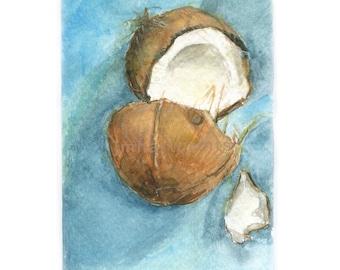 Watercolor Coconut, Coconut Print, Cracked Coconut Print