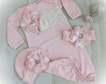 Newborn Girl Take Home Outfit, Blush Pink Layette Gown, Newborn Gown, Baby Girl Coming Home Gown