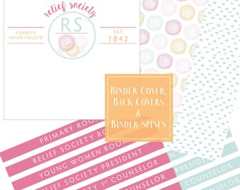 Relief Society Presidency Kit: Binder Covers, Conducting Sheet, Meeting Agenda Colorful